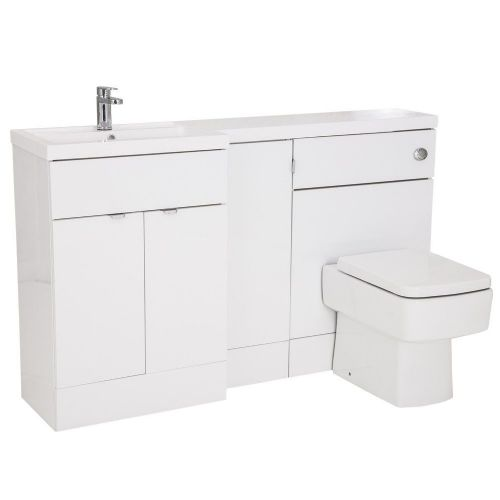 Elite White Gloss 1500mm Combination Furniture Pack - Left Hand